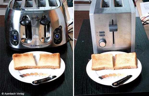 Links: Nahe am Ideal – der Toaster von Graef bräunt sehr gleichmäßig Rechts: Beinahe schwarz-weiß: Das Toastergebnis von Beems Blue Touch ist eher grenzwertig