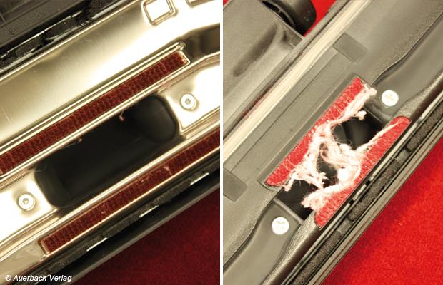 Die Düse des Gerätes von Philips zeigt sich auch nach der Faseraufnahmeprüfung sauber und frei von fusseligen Rückständen. Das ganze Gegenteil beim Konkurrenten von Rowenta: Die Düsenöffnung wird von einem robust gewebten Netz aus Fasern überspannt und verklebt