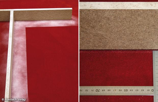 Vorher: Die eingestaubte Fläche für den Test der Reinigungsleistung entlang an Wänden, Nachher: Der Philips Marathon hinterlässt nur wenige Krumen Staub entlang der Prüfkante