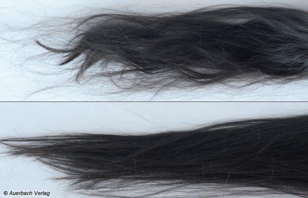 Vorher: Das starke, natürlich wellige Haar der Probandin. Nachher: Der Haarglätter von Bosch hinterließ eine gebändigte, glänzende Mähne. Im Endergebnis erreichte er Rang 3