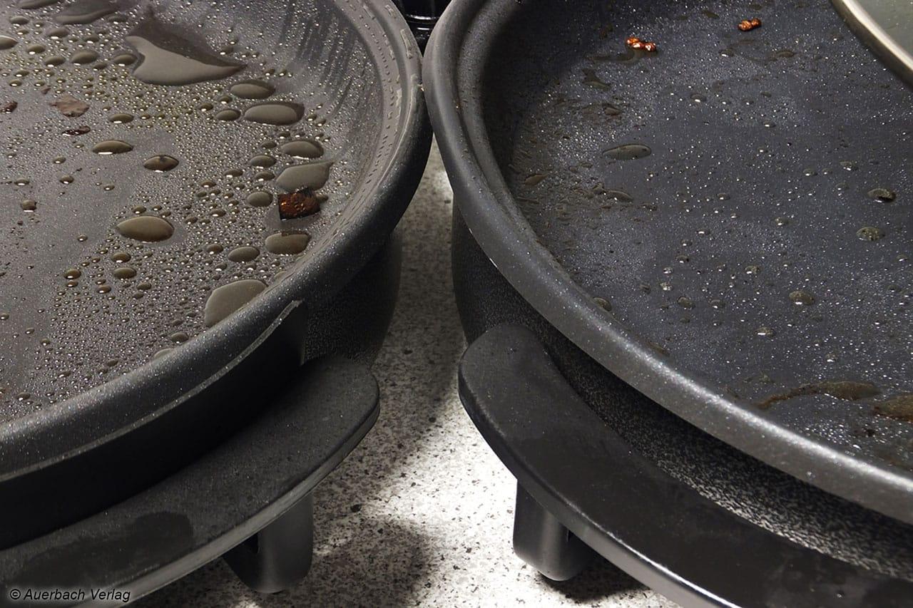 Die Griffe bei der MP 107 von MIA weisen im Gegensatz zur den Griffen der PZ-2964 von Tristar noch eine kleine Wärmeschutzwand auf. Ein Fingerkontakt zum heißen Pfannenrand wird daher unterbunden