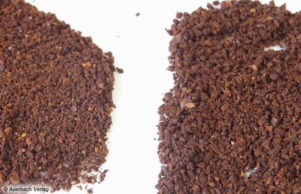 Der Partikelgrößenunterschied zwischen feinster (links) und gröbster Mahlstufe ist zu erkennen, aber nicht deutlich, in jedem Falle werden die Kaffeebohnen passend für den Filter gemahlen