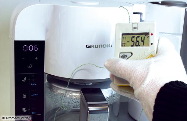 Hohe Temperaturgenauigkeit: In diesem Versuch brühten wir einen japanischen Sencha bei 55 Grad auf. Eine Abweichung von 1,4 Grad ist ein gutes Ergebnis