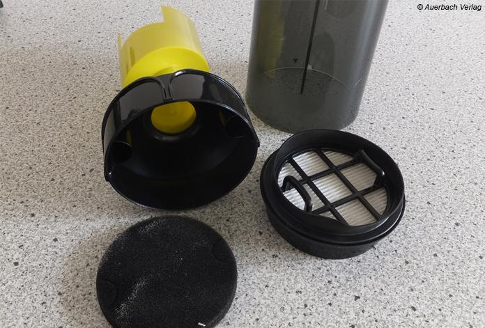 Zyklonbehälter samt Motorfilter und HEPA-Filterkasette des VCH 9530 sind schnell zu reinigen