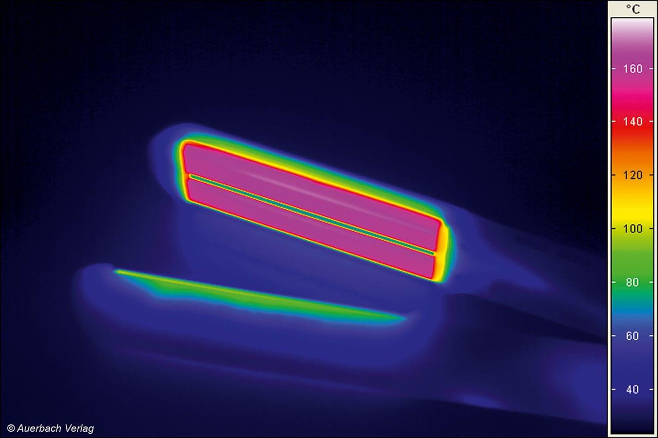 An der Wärmeverteilung auf den heißen Platten der Glätteisen gibt es nichts auszusetzen. die abweichungen zwischen den Randbereichen und dem Zentrum betragen nur wenige Grad