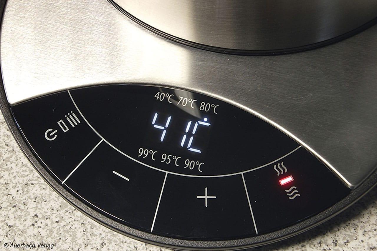 37°C oder doch 41°C? Auf dem Bedienfeld des WK 2500 lässt sich die Zieltemperatur gradgenau einstellen