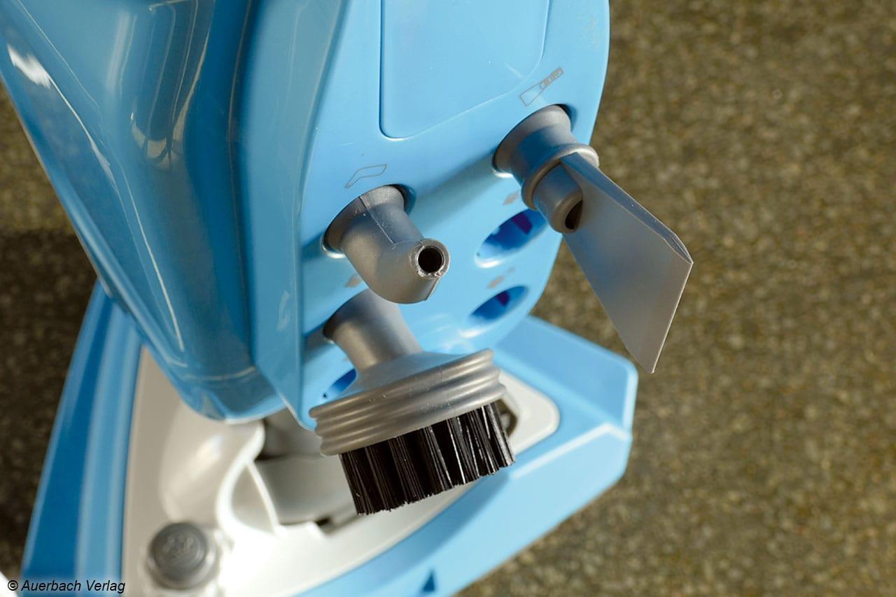 Am Heck des DD302 lassen sich alle kleinen Düsen unterbringen, das erleichtert natürlich den Schnelleinsatz des Handgeräts