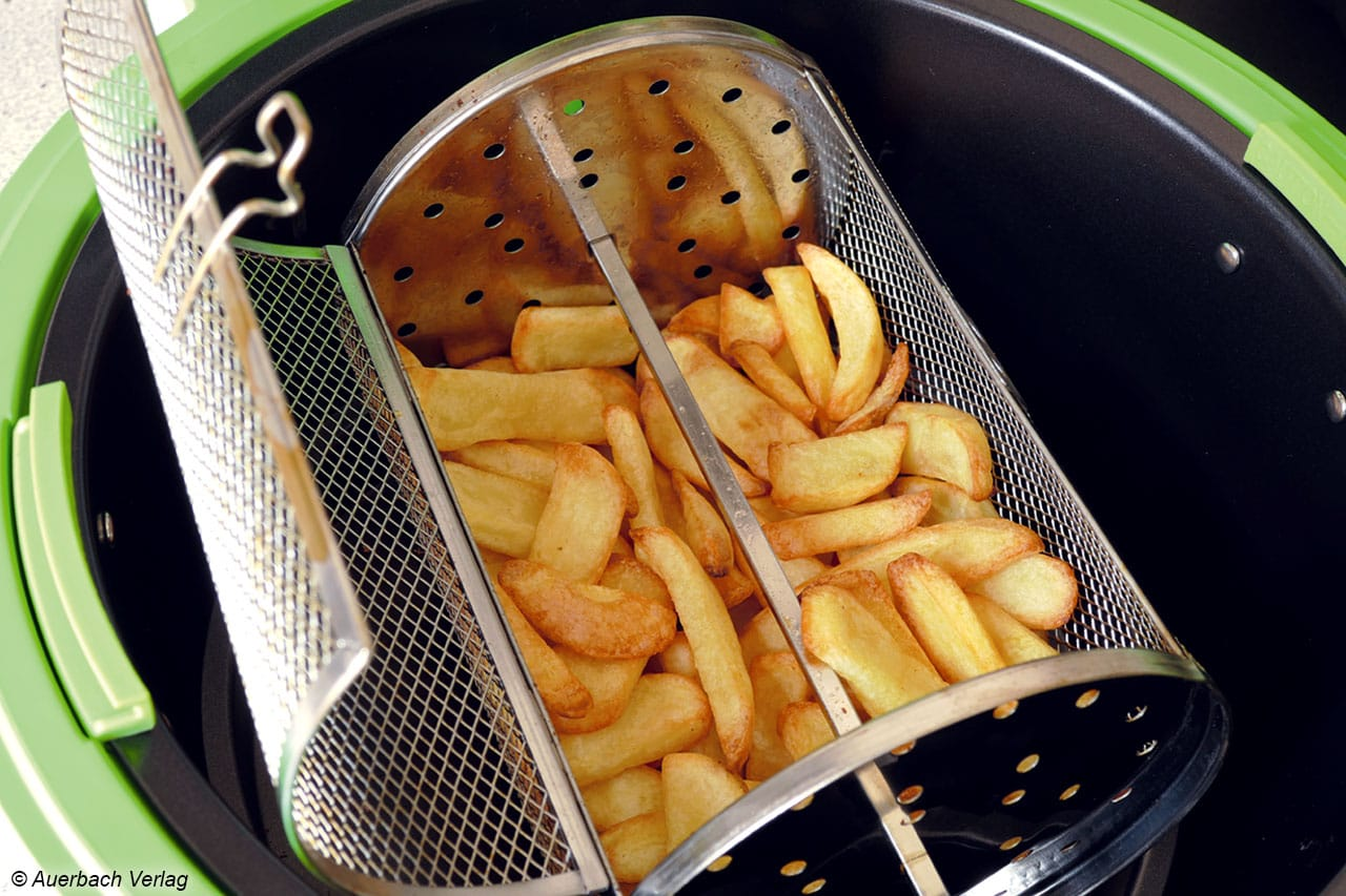 Die VitAir Turbo von Klarstein erzielt beim Frittieren der 350 Gramm Steakhouse-Pommes vergleichbare Ergebnisse hinsichtlich der Gleichmäßigkeit und Bräunung