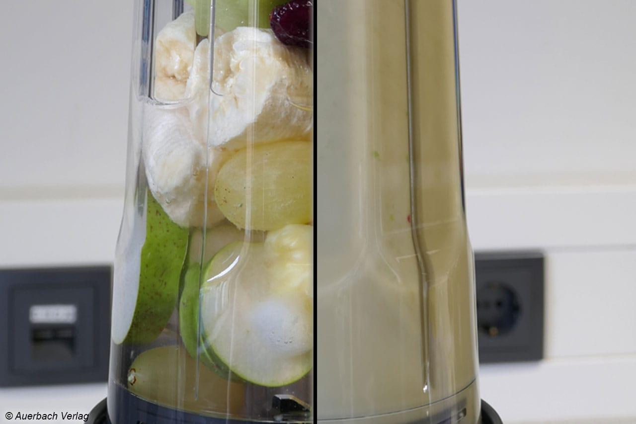 Binnen 45 Sekunden verwandeln sich die frischen Zutaten für den Grünen Smoothie in eine feine, cremige, homogene und schmackhafte Form