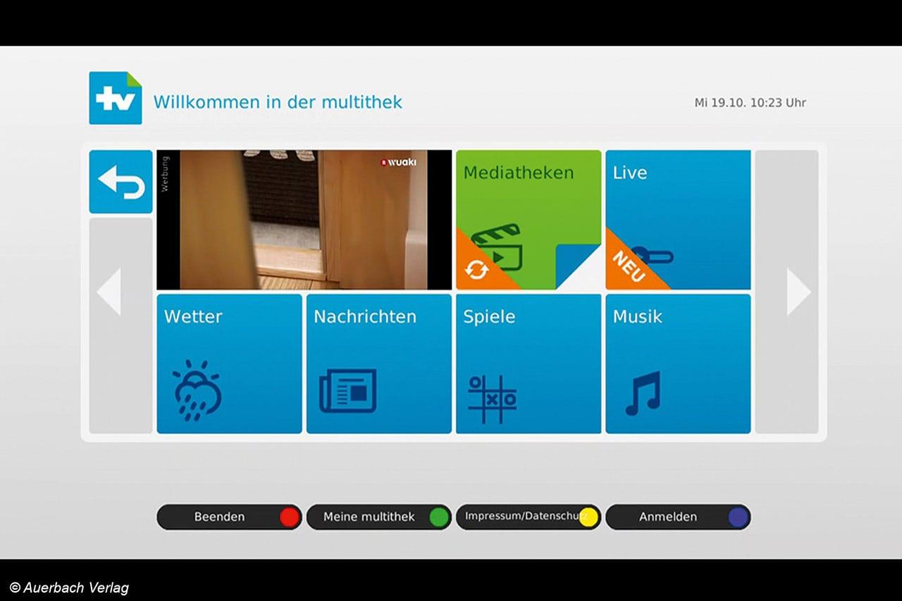Im TV-Apps-Menü der Box können die Mediatheken der Sender bequem erreicht werden