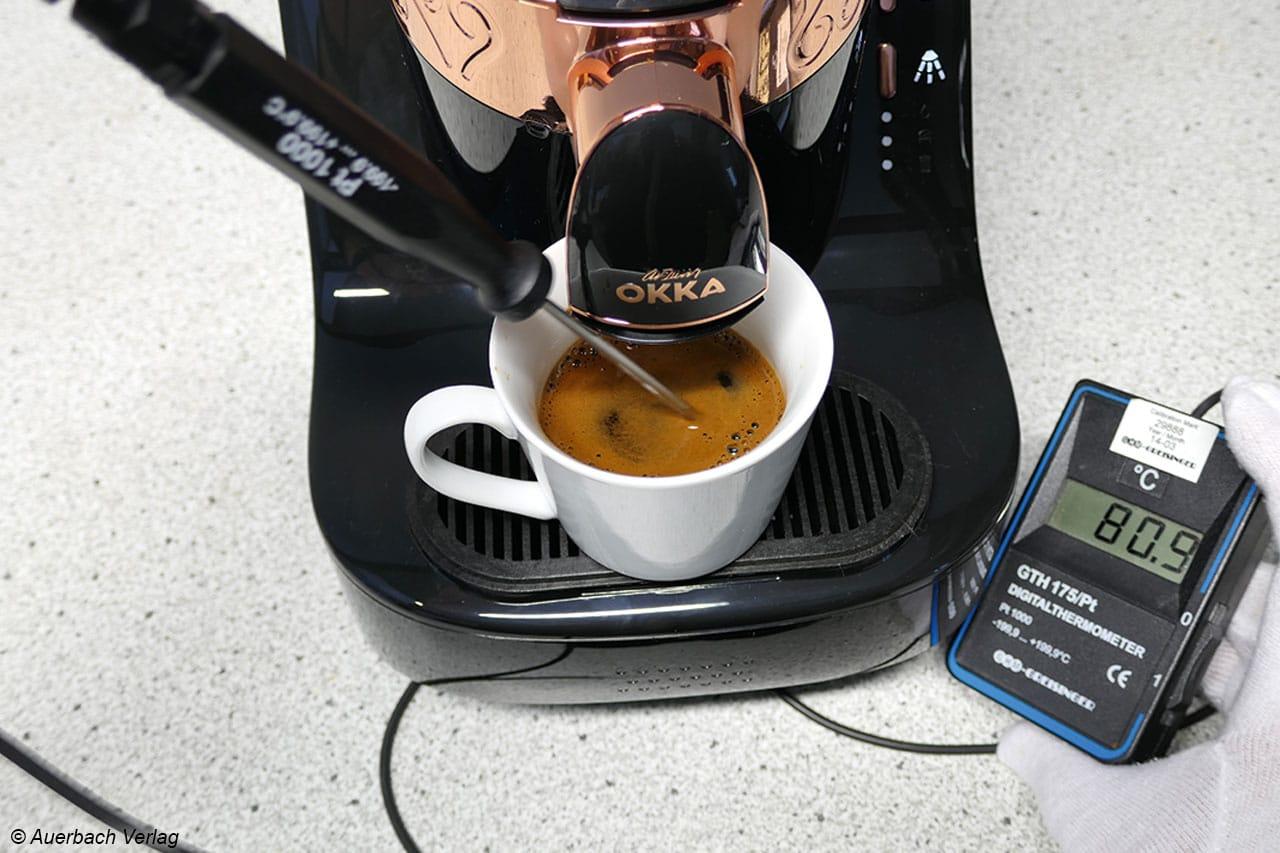 Die Mindestkaffeetemperatur von 75°C ist für den Okka gar kein Problem. Auch bei kleinster Füllmenge werden folglich 80°C erreicht