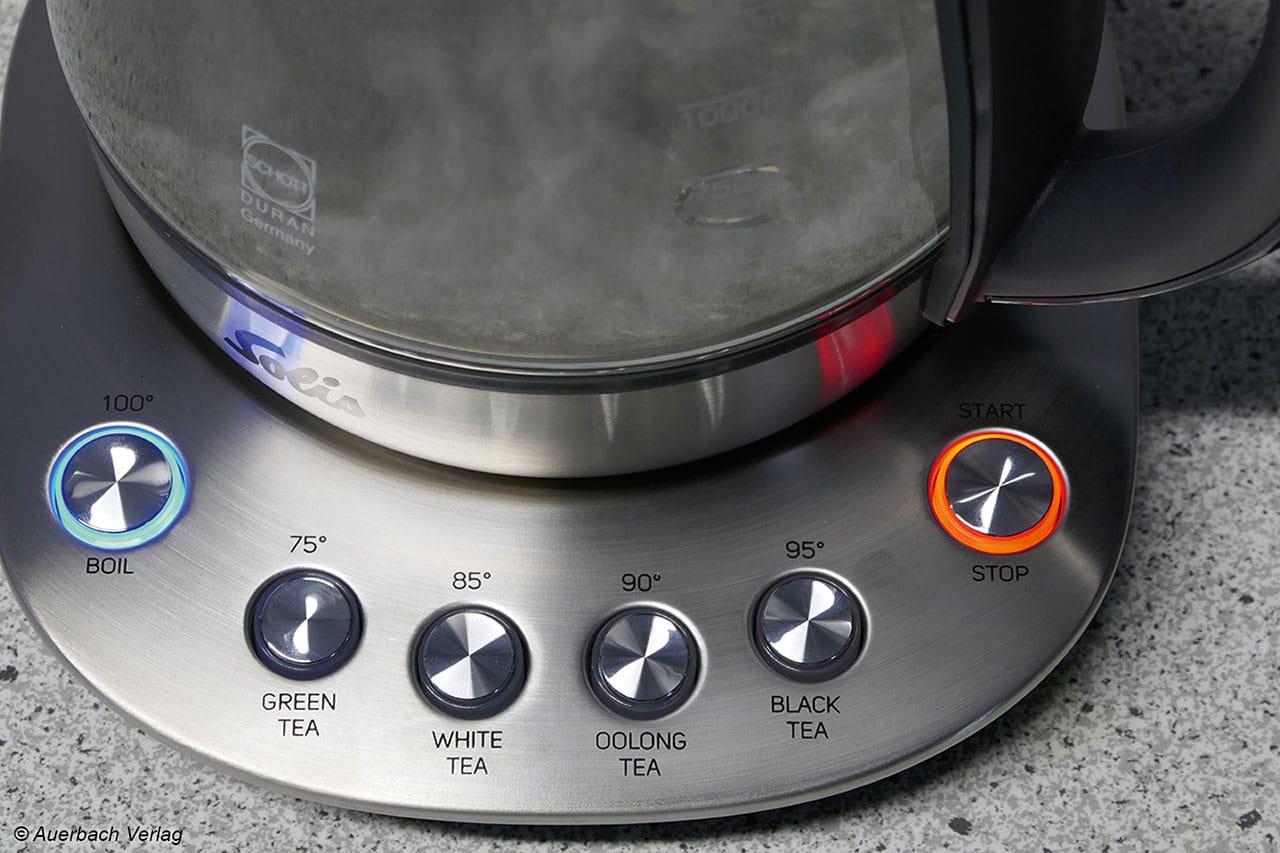 Bei dem Solis Teekocher kann die Ziehzeit individuell oder durch die Teeprogramme ausgewählt werden