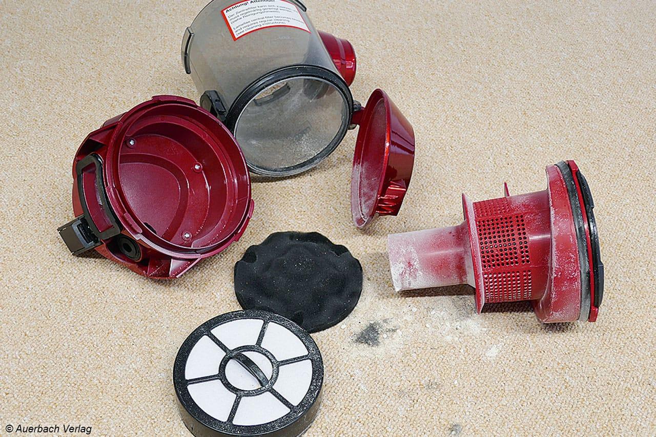 Modular, leicht zu zerlegen und zu reinigen: Der Staubcontainer bei BS 5565 von Mia