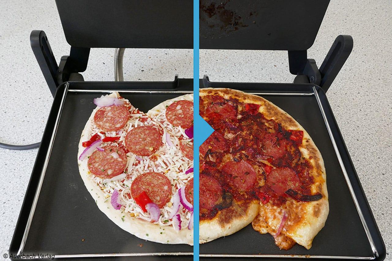 Für dicke Pizzen ist der Abstandshalter etwas zu niedrig, die Pizza kann von oben plattgedrückt werden