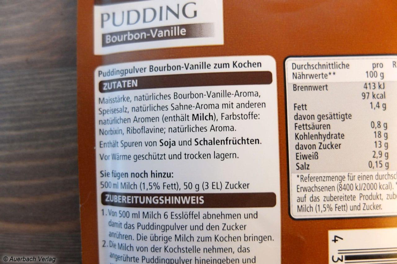 Im Real Quality Pudding Vanille häufen sich die Aromastoffe: Sahne-Aroma, andere natürliche Aromen und Bourbon-Vanille-Aroma