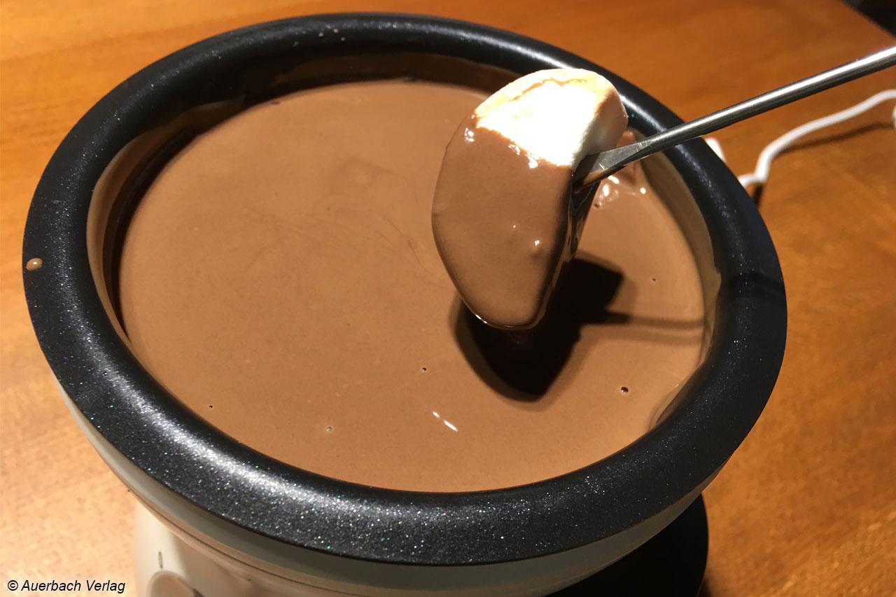 Die Schokolade ist immer perfekt temperiert und gerinnt auch nach längerer Zeit nicht