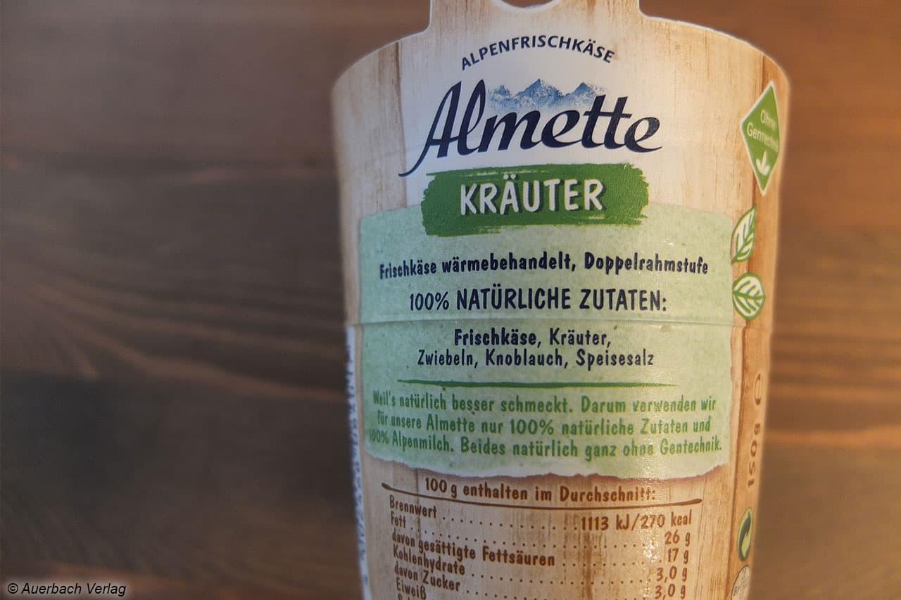 Almette Frischkäse mit 100% natürlichen Zutaten, wie auf der Verpackung versprochen
