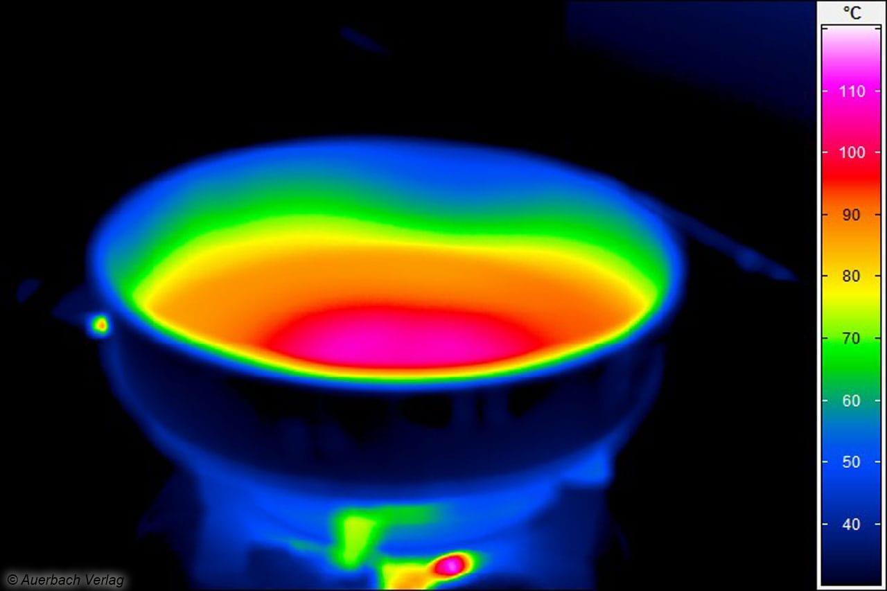Die gleichmäßige Wärmeverteilung ist auch beim Gaskochfeld erkennbar