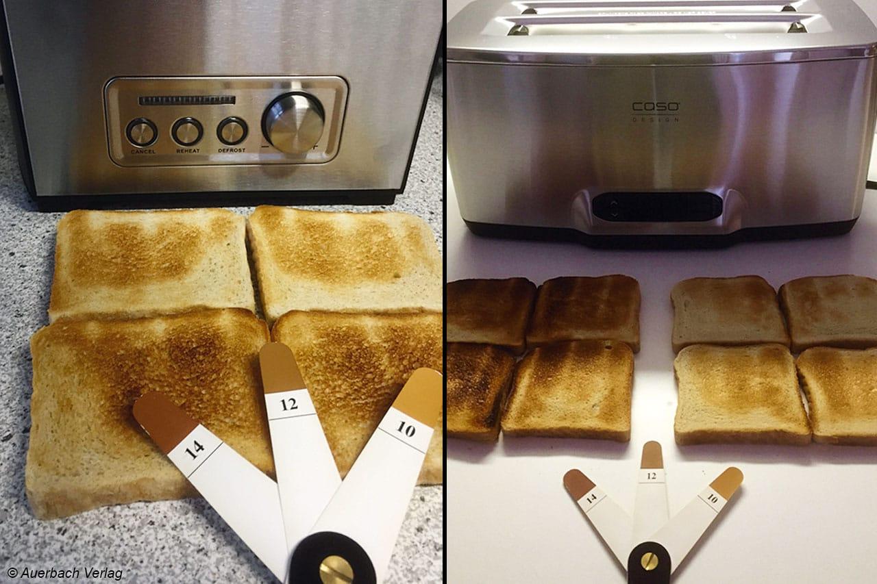 Mit Hilfe des Farbstufenfächers von BSi wird im Test die Farbdifferenz der Toastscheibenseiten ermittelt sowie bewertet