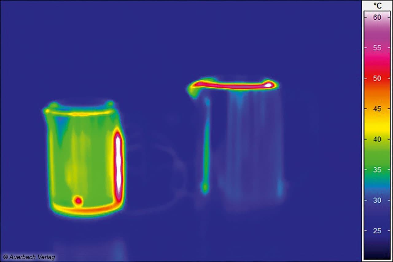 Blick durch die Wärmebildkamera im Testlabor: Vorsicht! Nicht nur an den Gefäßen aus Glas, sondern auch an denen aus Edelstahl kann man sich die Finger verbrennen