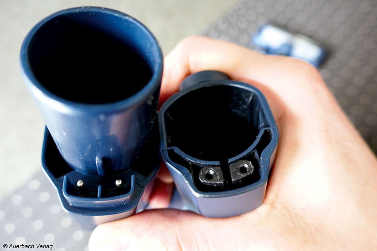 Ohne Zutun des Nutzern wird bei der Verbindung des Rohrs auch die Stromversorgung nach unten hergestellt