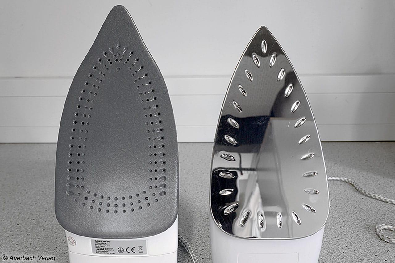 Im Vergleich: Die Bügelsohle vom Sichler NX-7606 ist deutlich größer, hat aber unten keine Dampflöcher im Gegensatz zum DB1720 von AEG