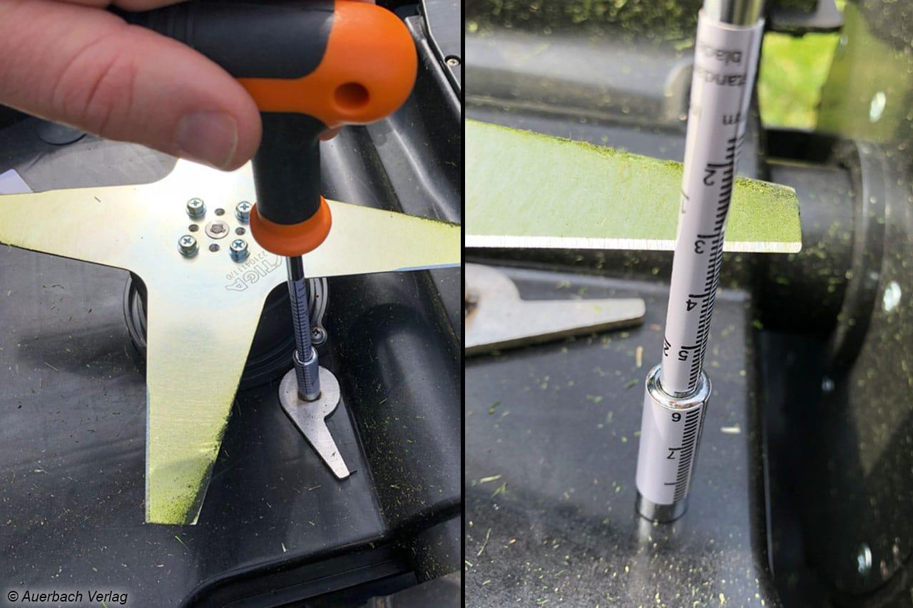 Um die Schnitthöhe beim Stiga zu verändern, muss er umgedreht und mit einem Werkzeug gewählt werden. Nur hier kann auch die eingestellte Höhe nachgemessen werden