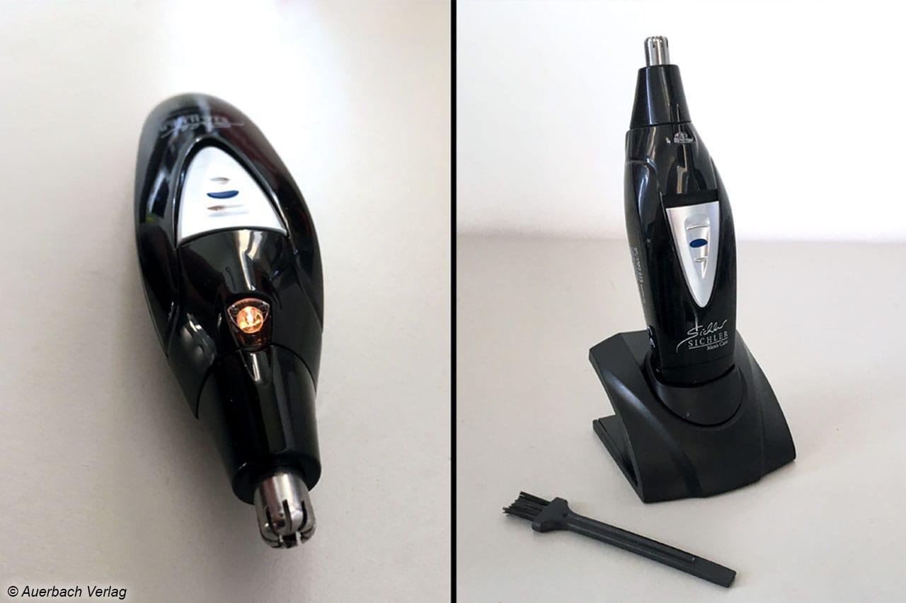 Der Sichler verfügt über ein integrierten LED-Spot für bessere Sicht beim Haare-Trimmen, sowie einen eleganten Standfuß