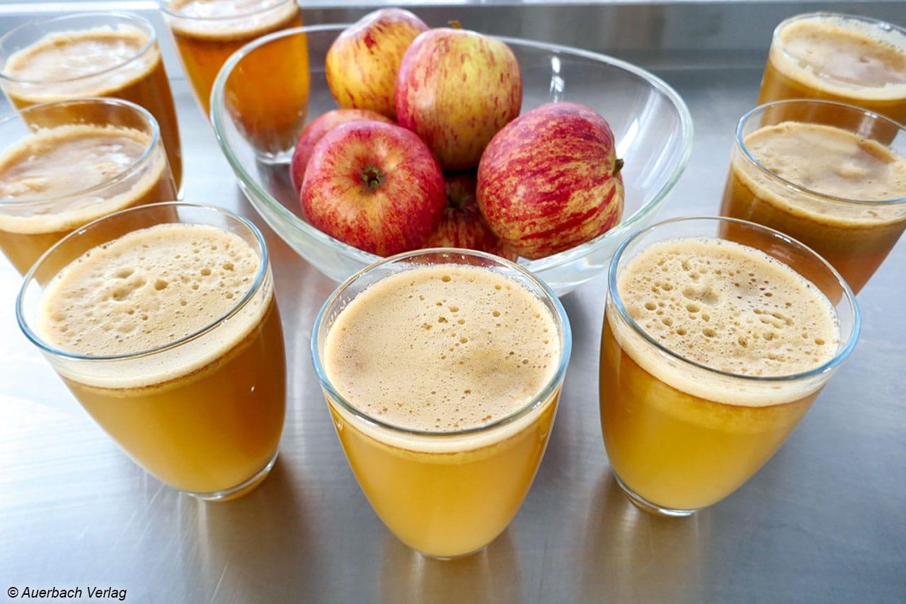 Acht Mal Apfelsaft, bitte! Alle Testkandidaten lieferten leckere Ergebnisse