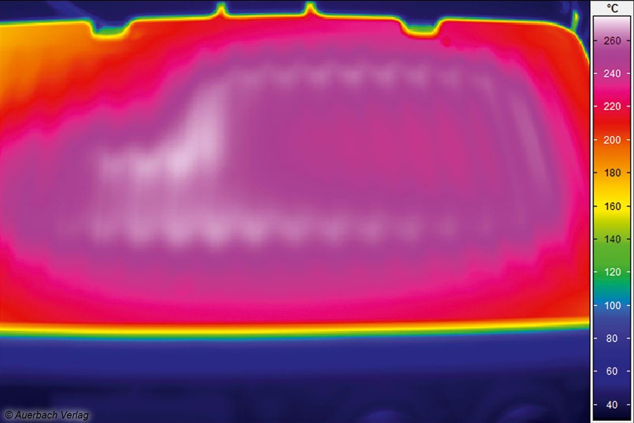 Wo das Heizelement des Testsiegers von De'Longhi zu verorten ist, kann man auf dem Thermobild gut erkennen