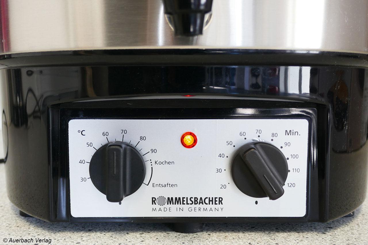 Auch bei Rommelsbacher dienen einfache Drehschalter der Bedienung und erfüllen ihren Zweck, hier mit nur einer Betriebsleuchte