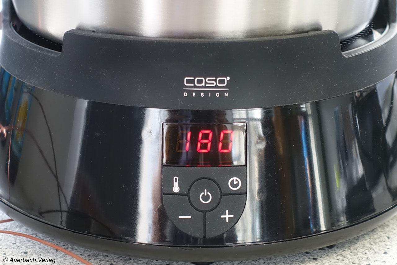 Das Caso-Gerät bietet als einziges eine Digitalanzeige für die Vorwahl von Temperatur und Zeit, leider nicht für die aktuelle Temperatur