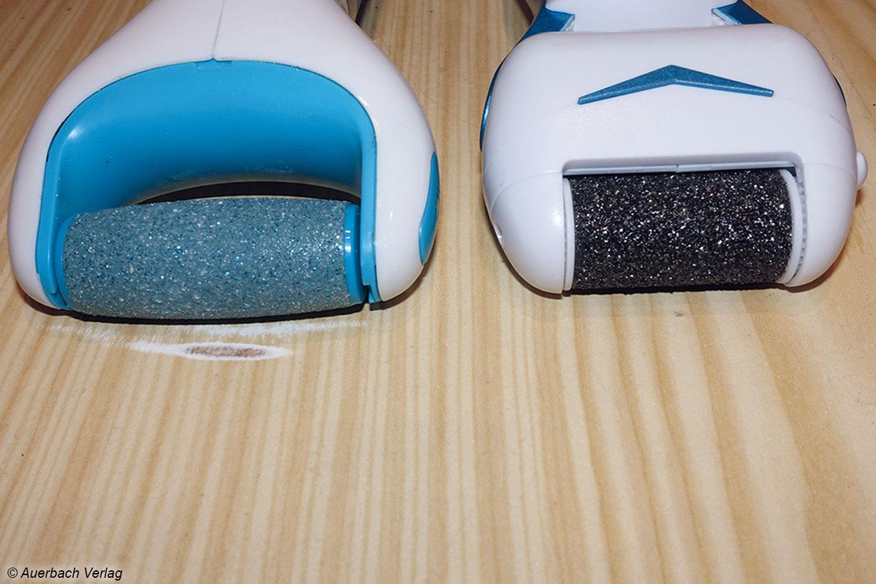 Das Scholl-Gerät (links) kann Oberflächenschäden verursachen, wenn es bei laufendem Motor abgelegt wird. Andere Geräte schützen die Walze mit den seitlichen Kappen