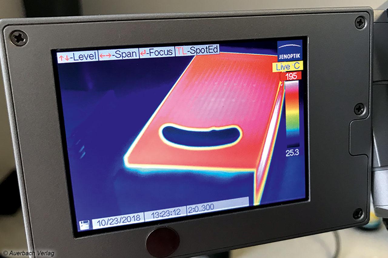 Die Hitzeverteilung auf den Grillplatten wird als wichtiges Funktionskriterium im Labor von Wärmebildkameras überwacht