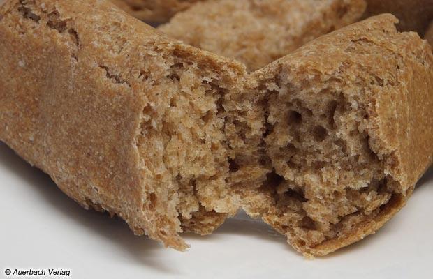 Locker, luftig und gleichmäßig gelingt der Teig, der Sensorik-Test an fertigen Brotsnacks bestätigt die Eindrücke der optischen Prüfung