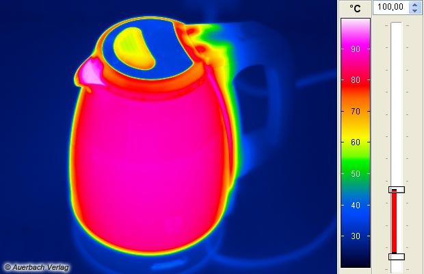 An der Ausgusstülle werden die üblichen fast 100 °C erreicht, die Bedienelemente und der Deckel aber bleiben kühl