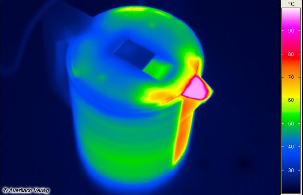 An den Gehäuseseiten herrschen Temperaturen von 40 bis 50 °C, verbrennen kann man sich hieran nicht, der fontana5 ist Edelstahlwasserkochern hier klar überlegen