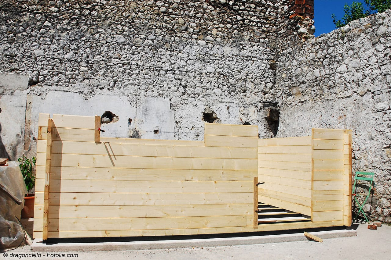 2. Arbeitsschritt: Aufbau der Wände Teil 2