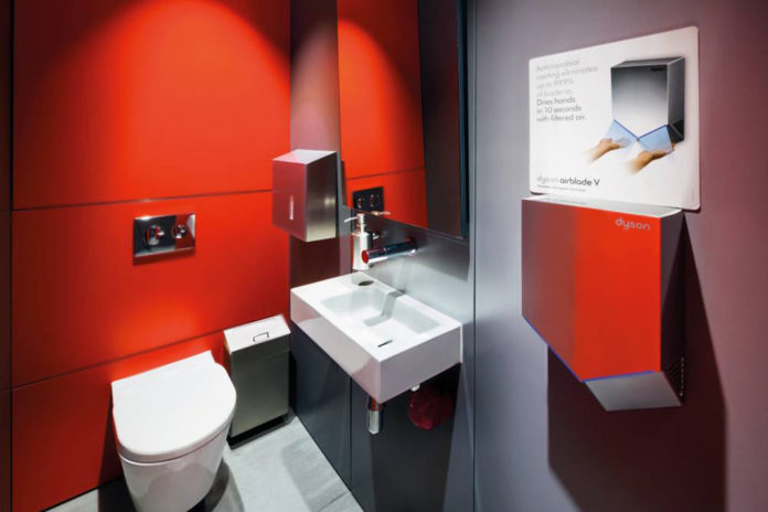 Der neue Dyson Airblade V Händetrockner ist leise, hygienisch, schnell und kompakt