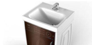Edles und platzsparendes Design: die Waschmaschine WFG Q8012 V von Hisense mit integriertem Waschbecken