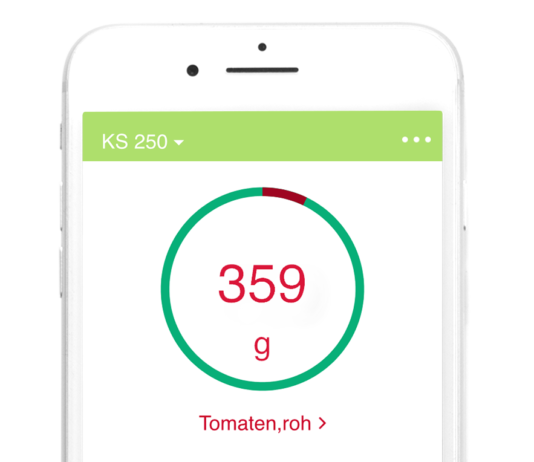 Die Küchenwaage KS 250 gibt es mit App für iOS und Android