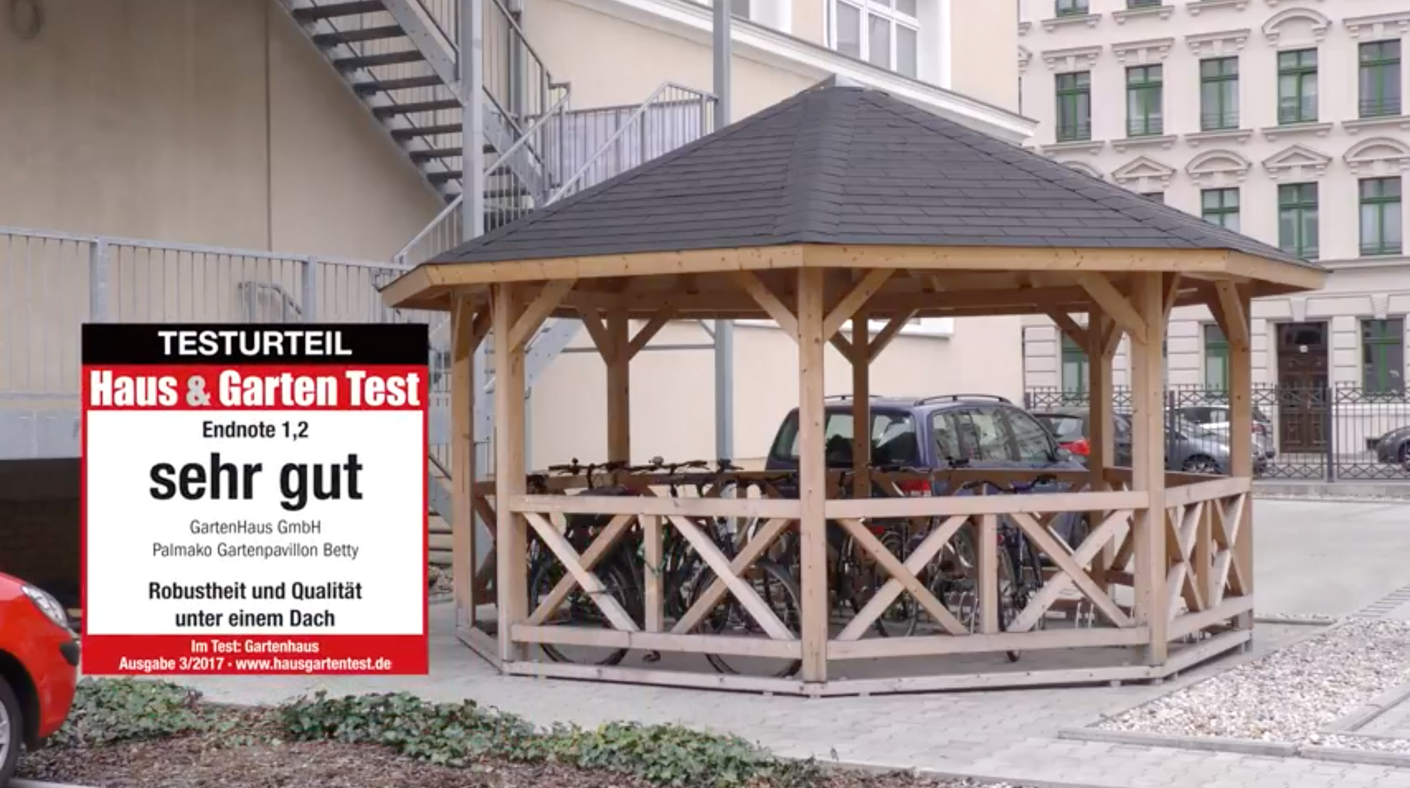 testvideo aufbau palmako gartenpavillon betty haus garten test. Black Bedroom Furniture Sets. Home Design Ideas