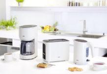 Kaffeemaschine, Wasserkocher und Toaster bilden das Trio der neuen Braun PurEase Frühstücksserie. © Braun
