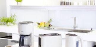 Kaffeemaschine, Wasserkocher und Toaster bilden das Trio der neuen Braun PurEase Frühstücksserie