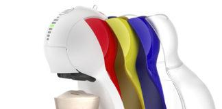 Die neue Nescafé Dolce Gusto Colors als bunte Überraschung wird in Weiß mit Farbeinsätzen in Blau, Grün und Rot angeboten. Und in der Farbe Schwarz und mit Farbeinsätzen in Orange, Rot und Gelb