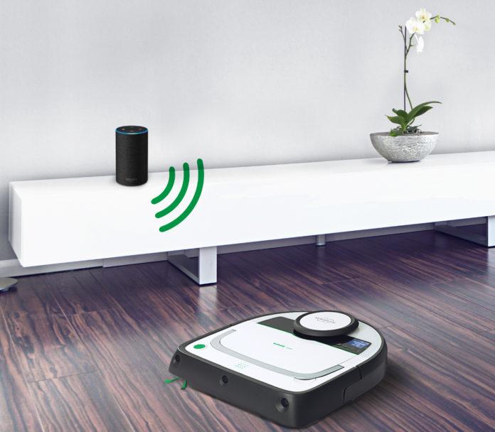 Der Kobold VR200 Saugroboter von Vorwerk lässt sich über Alexa-fähige Geräte, wie Amazon Echo und Amazon Echo Dot, steuern