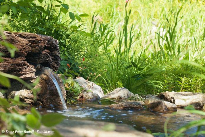 Gartenteich mit sprudelnder Quelle (Bild: © Franz Peter Rudolf - Fotolia.com)