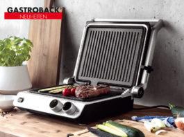 Der Design BBQ Pro von Gastroback ist aufgeklappt als BBQ-Grill einsetzbar