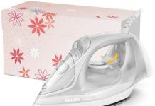 Das Philips EasySpeed Advanced Dampfbügeleisen ist nach der Arbeit ganz schnell wieder in der hitzebeständigen floralen Aufbewahrungsbox verstaut