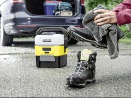 Mit dem mobilen Niederdruckreiniger OC 3 sind Reisende bestens gerüstet, wenn Staub und Matsch schnell beseitigt werden müssen